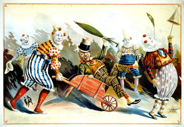 Product Mixed Media - Circus Clowns - Vintage Circus Advertising Poster by Studio Grafiikka