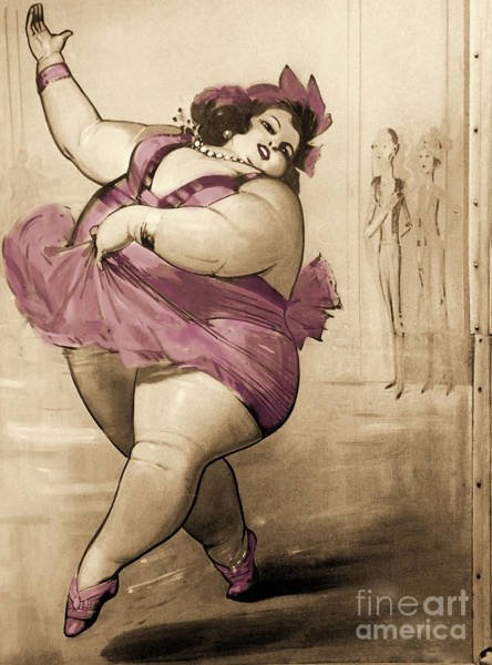 Circus Painting - Circus Fat Lady by Mindy Sommers