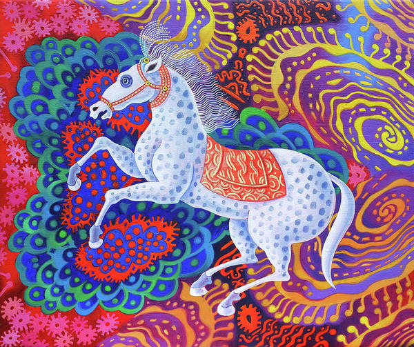 Dressage Painting - Circus Horse by Jane Tattersfield