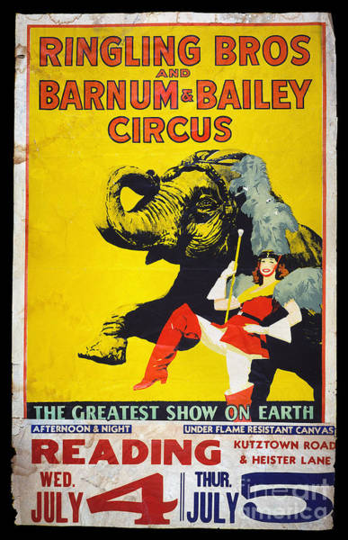 Photograph - Circus Poster, C1950 by Granger