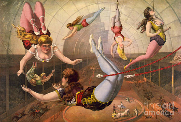 Trapeze Photograph - Circus Trapeze Act, 1890 by Science Source