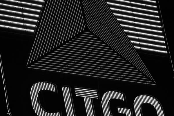 Citgo Sign Closeup Boston Ma Black And White Art Print