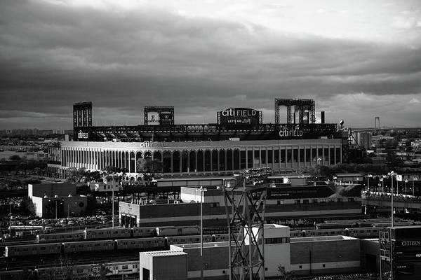 Wall Art - Photograph - Citi Field - New York Mets Bw by Frank Romeo