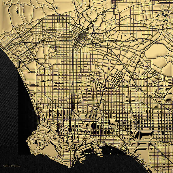 Digital Art - Cities Of Gold - Golden City Map Of Los Angeles On Black by Serge Averbukh