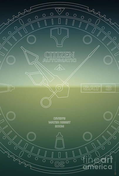 Citizen Automatic Divers Watch Outline Poster Art Print