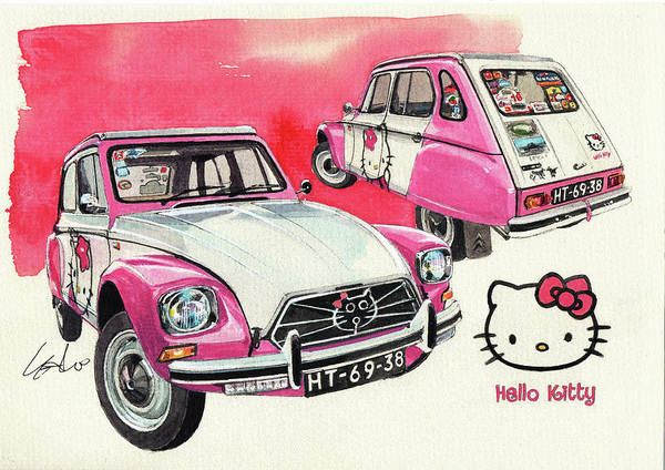 Hello Kitty Wall Art - Painting - Citroen Dyane Hello Kitty by Yoshiharu Miyakawa
