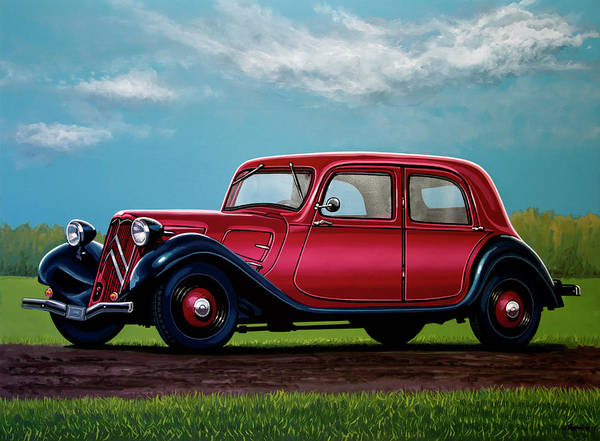 Oldtimer Wall Art - Painting - Citroen Traction Avant 1934 Painting by Paul Meijering