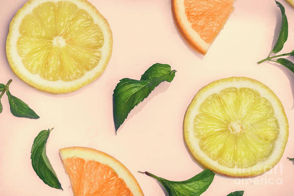 Photograph - Citrus Pattern On Retro Pink Background by Jelena Jovanovic