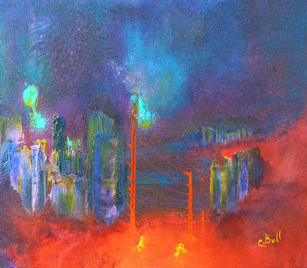 Painting - City Abstract Red by Claire Bull
