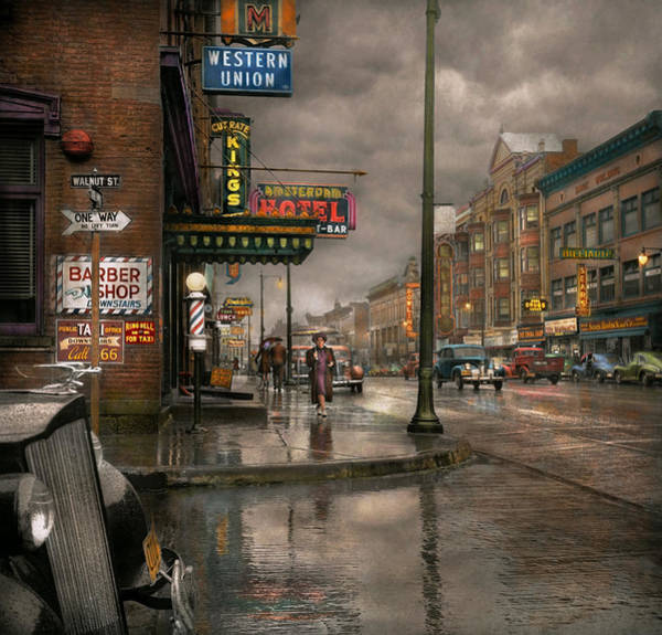 Gloomy Wall Art - Photograph - City - Amsterdam Ny -  Call 666 For Taxi 1941 by Mike Savad