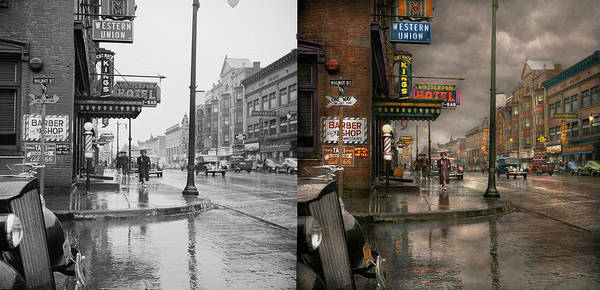 Wall Art - Photograph - City - Amsterdam Ny -  Call 666 For Taxi 1941 - Side By Side by Mike Savad