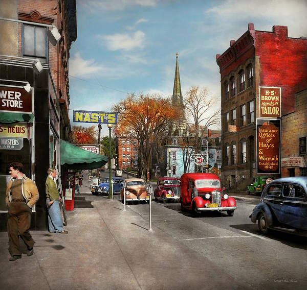 Ford Van Photograph - City - Amsterdam Ny - Downtown Amsterdam 1941 by Mike Savad
