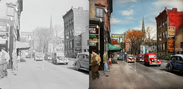 Ford Van Photograph - City - Amsterdam Ny - Downtown Amsterdam 1941- Side By Side by Mike Savad