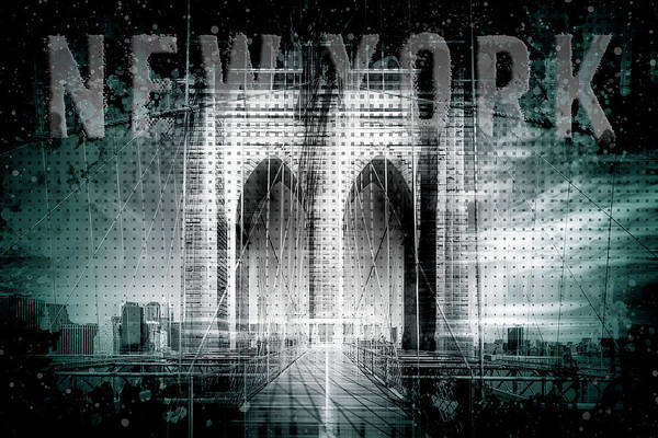 Wall Art - Photograph - City Art Brooklyn Bridge In Detail - Cyan by Melanie Viola