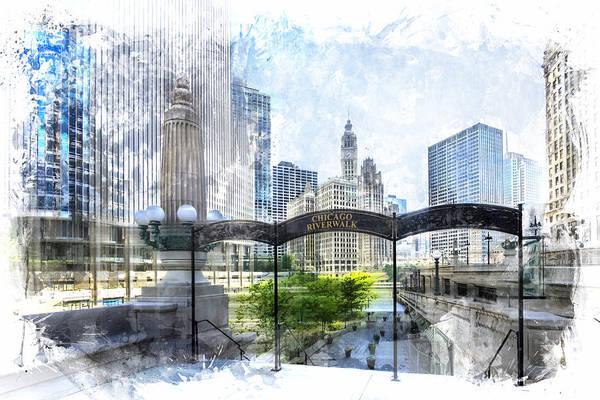 Riverwalk Photograph - City-art Chicago Downtown I by Melanie Viola