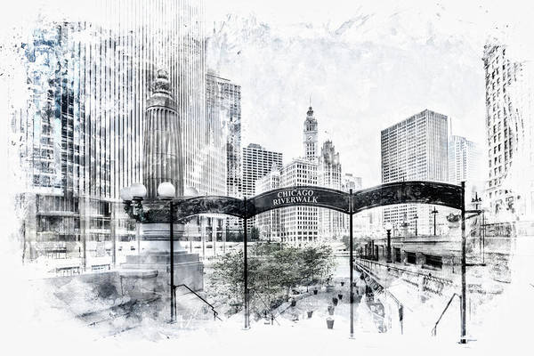 Wall Art - Digital Art - City Art Chicago Downtown View by Melanie Viola