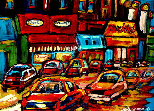 Painting - City At Night Montreal Street Scenes  by Carole Spandau