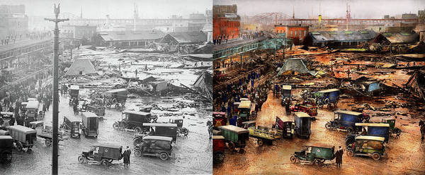 Photograph - City - Boston Ma - The Great Molasses Flood 1919  - Side By Side by Mike Savad