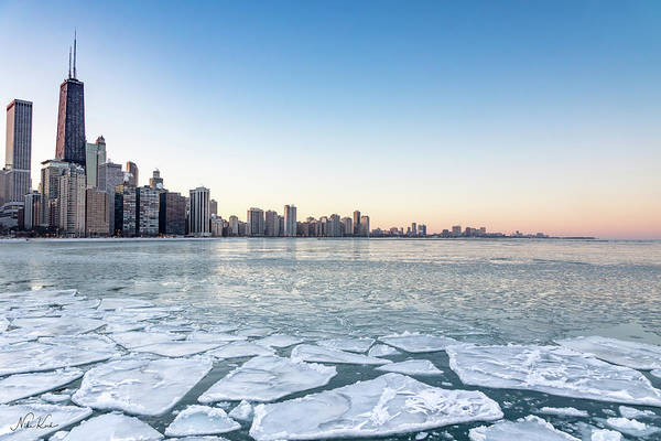 City By The Frozen Lake Art Print