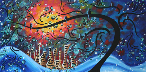 Circle Painting - City By The Sea By Madart by Megan Duncanson