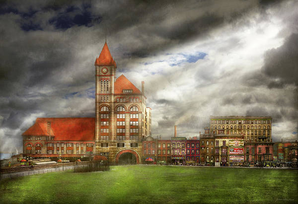 Photograph - City - Chicago Il - Illinois Central Depot 1901 by Mike Savad