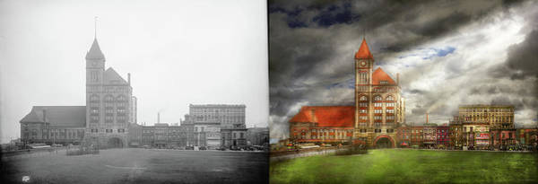 Photograph - City - Chicago Il - Illinois Central Depot 1901 - Side By Side by Mike Savad