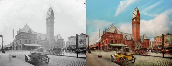 Photograph - City - Chicago Ill - Dearborn Station 1910 - Side By Side by Mike Savad