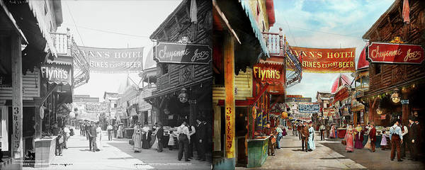Photograph - City - Coney Island Ny - Bowery Beer 1903 - Side By Side by Mike Savad