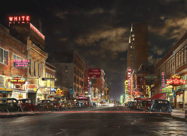 Photograph - City - Dallas Tx - Elm Street At Night 1941 by Mike Savad