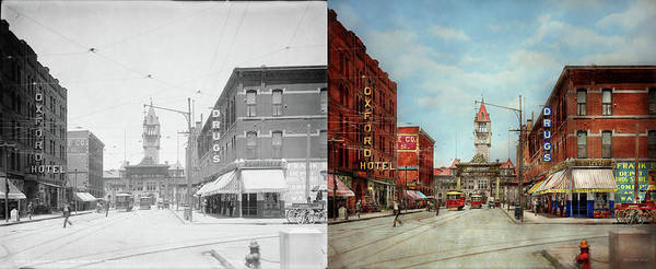 Photograph - City - Denver Colorado - Welcome To Denver 1908 - Side By Side by Mike Savad