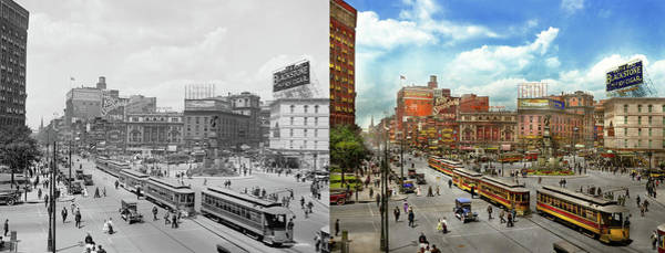 Wall Art - Photograph - City - Detroit Mi - Motor City 1917 - Side By Side by Mike Savad