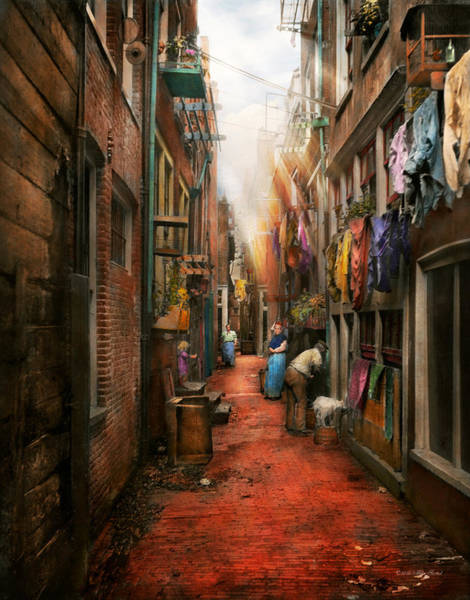 Dirty Laundry Photograph - City - Germany - Alley - The Other Half 1904 by Mike Savad