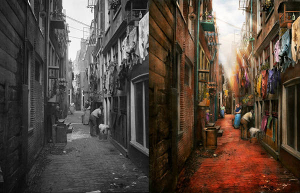 Dirty Laundry Photograph - City - Germany - Alley - The Other Half 1904 - Side By Side by Mike Savad