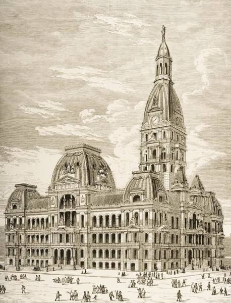 Vintage Chicago Drawing - City Hall, Chicago, Illinois In 1870s by Vintage Design Pics