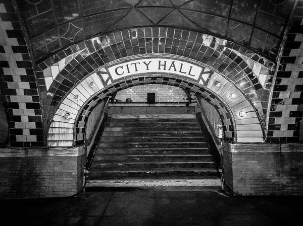 Photograph - City Hall Ghost Station Bw by Dave Beckerman