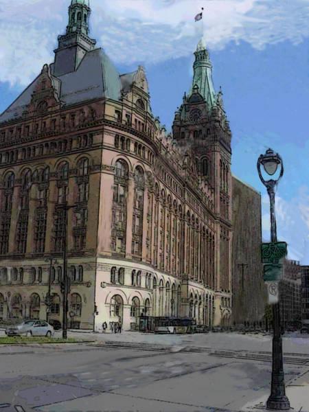 Digital Art - City Hall With Street Lamp by Anita Burgermeister