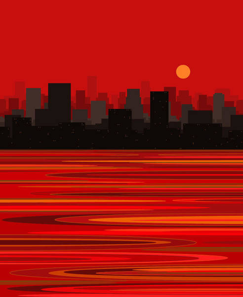 Digital Art - Red Hot City by Val Arie