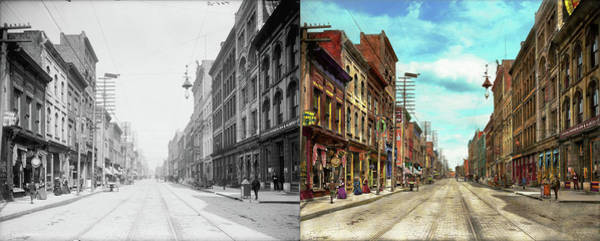 Photograph - City - Knoxville Tn - Gay Street 1903 - Side By Side by Mike Savad