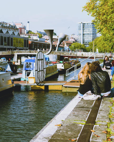 Photograph - City Life In Bristol, Two Lovers On The Waterfront by Jacek Wojnarowski