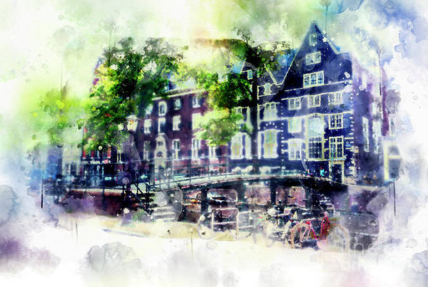 Digital Art - city life in watercolor style - Old Amsterdam  by Ariadna De Raadt
