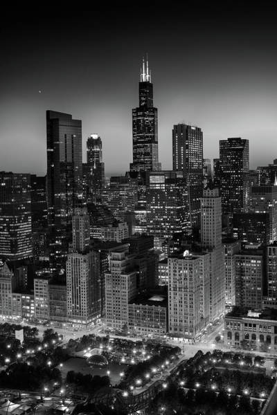 Wall Art - Photograph - City Light Chicago B W by Steve Gadomski