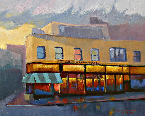 Painting - City Lights Bookstore by Suzanne Cerny