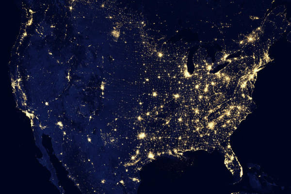 Photograph - City Lights Of The United States 2012 by Suomi NPP satellite