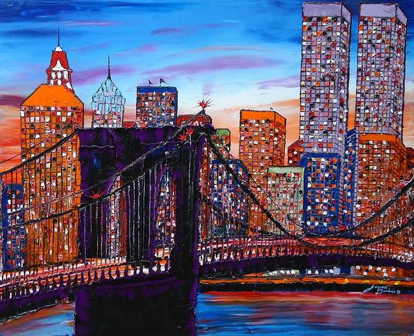 Wall Art - Painting - City Lights Over Brooklyn Bridge Twin Towers by Dunbar's Modern Art