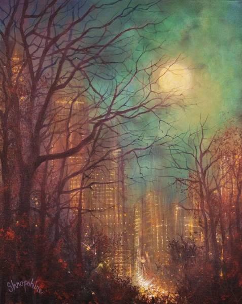 Wall Art - Painting - City Moon by Tom Shropshire