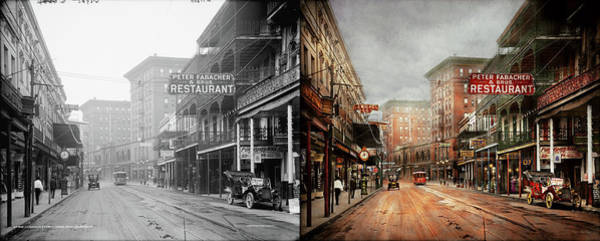 Photograph - City - New Orleans - A Look At St Charles Ave 1910 - Side By Side by Mike Savad