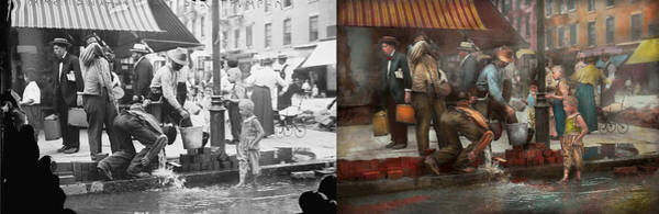 Water Hydrant Photograph - City - Ny - Drinking Water From A Street Pump 1910 - Side By Side by Mike Savad