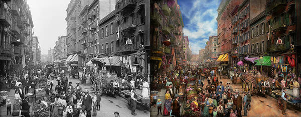 Italian Immigrants Wall Art - Photograph - City - Ny - Flavors Of Italy 1900 Side By Side by Mike Savad