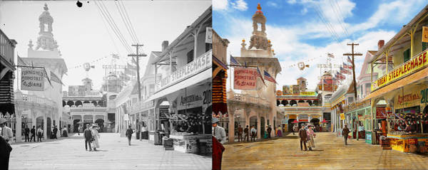 Rockaway Photograph - City - Ny - The Great Steeplechase 1903 - Side By Side by Mike Savad