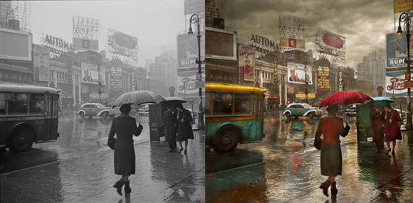 Shipmates Photograph - City - Ny - Times Square On A Rainy Day 1943 Side By Side by Mike Savad